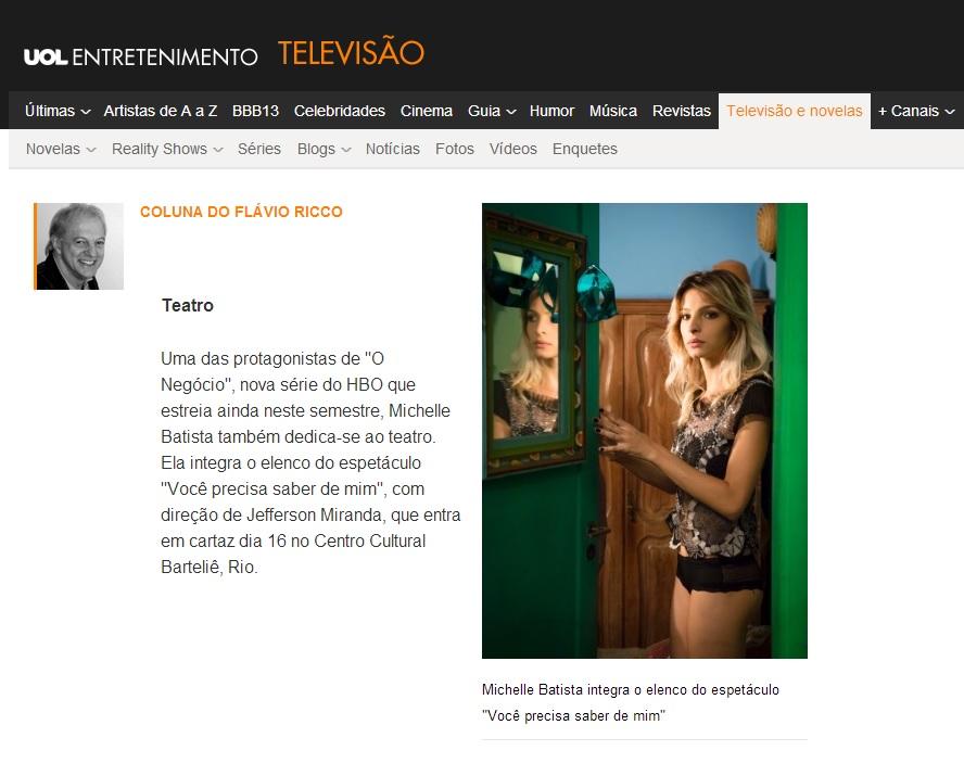 Michelle Batista - UOL  - Coluna do Flávio Ricco 15 03 2013